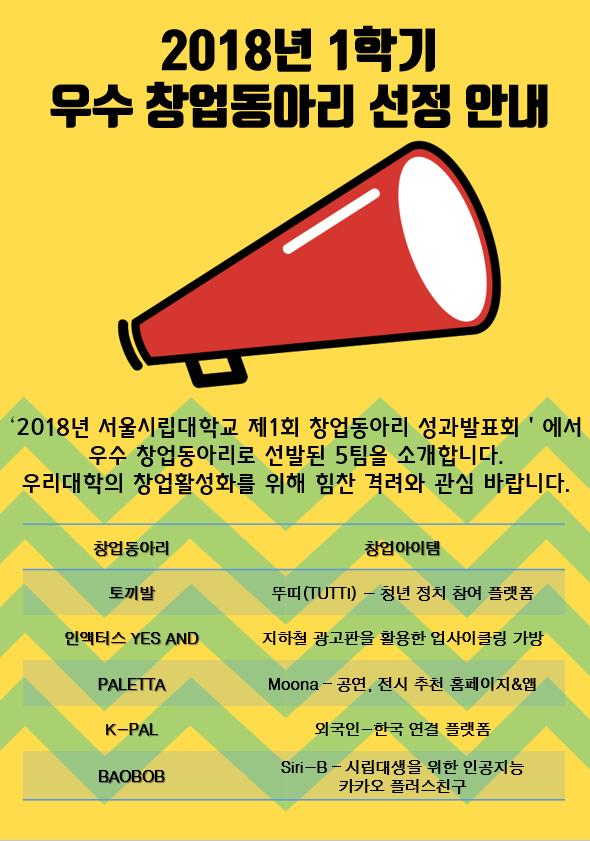 [창업지원단] 2018년 1학기 우수 창업동아리 선정 안내