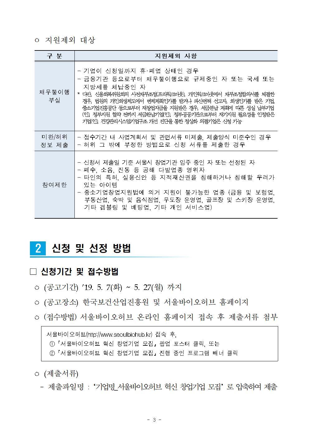 2019년 서울바이오허브 혁신 창업기업 모집 공고_final003