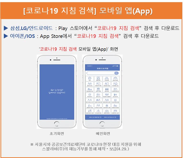 """[코로나19 지침 검색] 모바일 앱(App) ▶ 삼성,LG/안드로이드 : Play 스토어에서 """"코로나19 지침 검색"""" 검색 후 다운로드 아이폰/IOS : App Store에서 """"코로나19 지침 검색 검색 후 다운로드"""