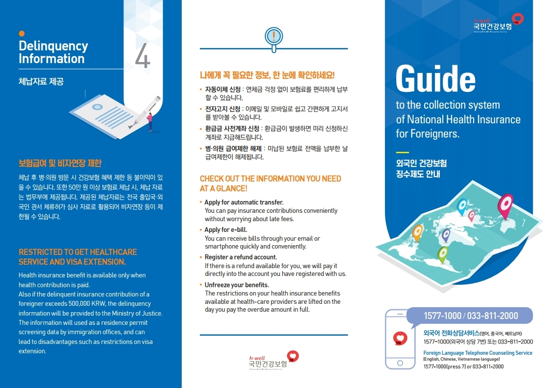 Guide to the collection system of National Health Insurance for Foreigners
